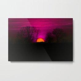 Orange Sun Purple Sky Metal Print