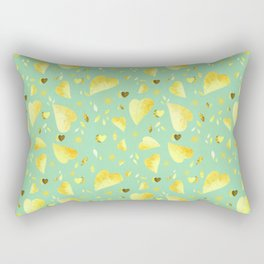 Mint Green & Yellow leaves motif Rectangular Pillow