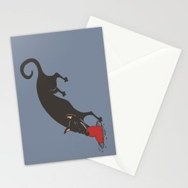Black Dog burying a Heart Stationery Cards