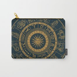 Vintage Zodiac & Astrology Chart | Royal Blue & Gold Carry-All Pouch