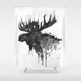 Black and White Moose Head Watercolor Silhouette Shower Curtain