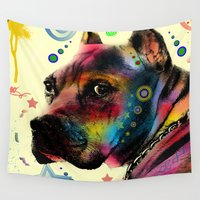 pitbull Wall Tapestries featuring dog by mark ashkenazi