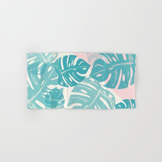 Linocut Monstera Rosy Hand & Bath Towel