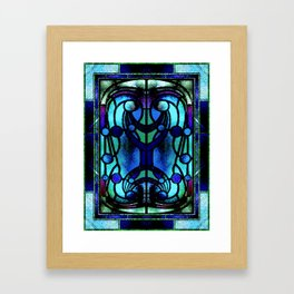 Blue and Aqua Stained Glass Victorian Design Framed Art Print
