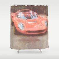 ferrari Shower Curtains featuring 1966 Ferrari Dino by Ray Cowie