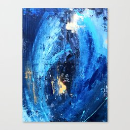 Vortex: a vibrant, blue and gold abstract mixed-media piece Canvas Print