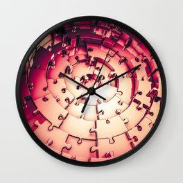 Metal Puzzle RETRO RED / 3D render of metallic circular puzzle pieces Wall Clock