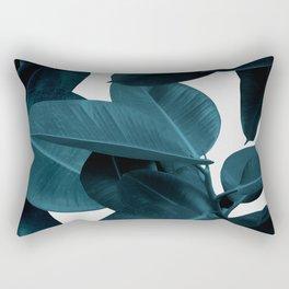 Indigo Plant Leaves Rectangular Pillow
