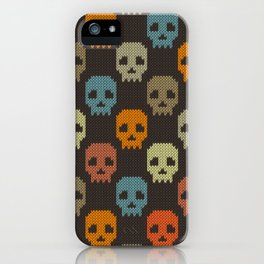 Knitted skull pattern - colorful iPhone Case