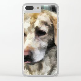 Labradors fun in the mud Clear iPhone Case