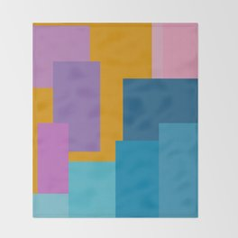 Happy Color Block Geometrics in Yellow, Blue, Purple, and Pink Throw Blanket