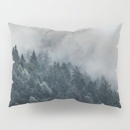 Misty Foggy Minimalist Landscape Photography Pine Forest Pillow Sham