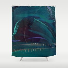 Electric: abstract | mixed media | high contrast | dark blue | green | purple | white | digital | Shower Curtain
