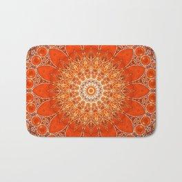 Detailed Orange Boho Mandala Bath Mat