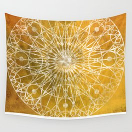 Rosette Window - Yellow Wall Tapestry