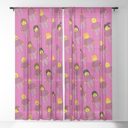 Building Blocks People, Light Pink Brick Characters Sheer Curtain