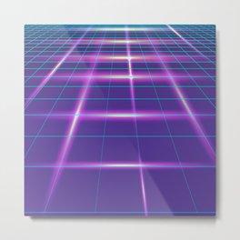 Minimalist Grid Lines Neon Synthwave Metal Print