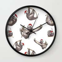 sloths Wall Clocks featuring Christmas Sloths in Santa Hats by Maz Davies