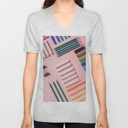 Chalks, pens, pencils and modeling clay Unisex V-Neck