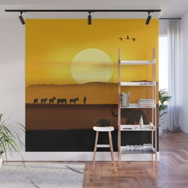 Morning in the African savannah Wall Mural