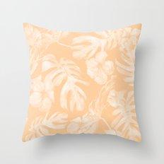 Island Vacation Hibiscus Palm Leaf Coral Mango Orange Throw Pillow