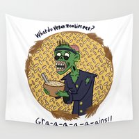 vegan Wall Tapestries featuring Vegan Zombies by Matt Wydick