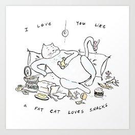 Fat Cat Loves Snacks Art Print