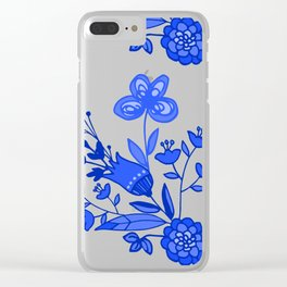 Blue &White Floral Clear iPhone Case
