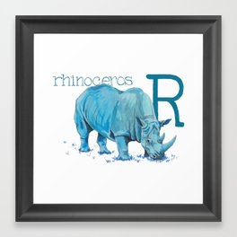 R is for Rhinoceros Framed Art Print
