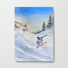 Snowboarders Shreddin' The Gnar Metal Print