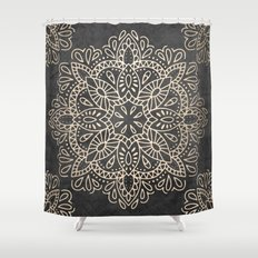 Mandala White Gold on Dark Gray Shower Curtain