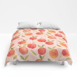 Peaches gouache painting Comforters