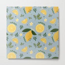 Whimsical Repeat Lemon Print Illustration - Blue Metal Print