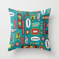 sayings Throw Pillows featuring super heros sayings by  Alexia Miles photography