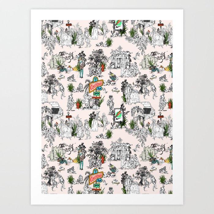 Toile de Jouy Between eras 01 Art Print