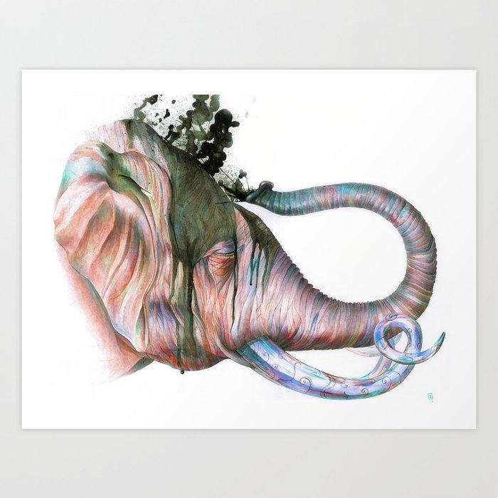 Elephant Shower in Red Art Print