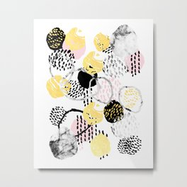 Amalia - gold abstract black and white glitter foil art print texture ink brushstroke modern minimal Metal Print