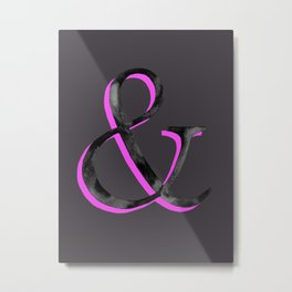 Ampersand - Black and Pink Dark Metal Print