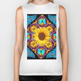 TURQUOISE BUTTERFLIES SUNFLOWER BLACK ART Biker Tank
