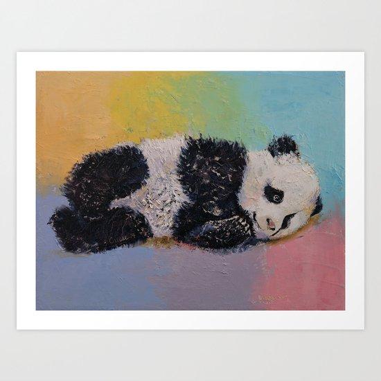 Baby Panda Rainbow Art Print