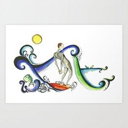 Nose riding Surfer  Art Print