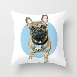 French Bulldog blue spot. Throw Pillow
