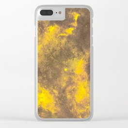 Yellow Painted on Concrete Clear iPhone Case