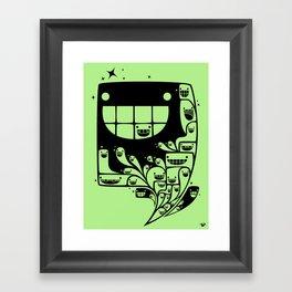 Happy Inside - 1-Bit Oddity - Black Version Framed Art Print