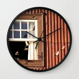 Red Window full of birds Wall Clock