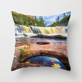 Mandio Falls - Porcupine Mountains Throw Pillow