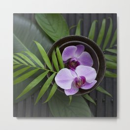 Zen Style Pink Orchids And Palm Leaf Metal Print