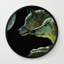 Moonlight Wolves Wall Clock
