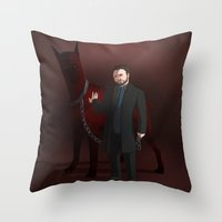 crowley Throw Pillows featuring Crowley by Jennilah