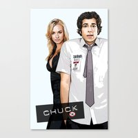chuck Canvas Prints featuring Chuck Chuck by SyafSyaf